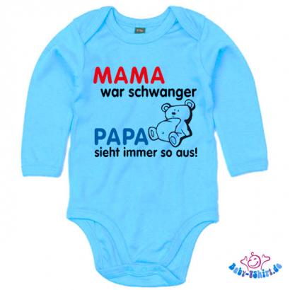 babybody langarm bedruckt mit mama war schwanger papa. Black Bedroom Furniture Sets. Home Design Ideas