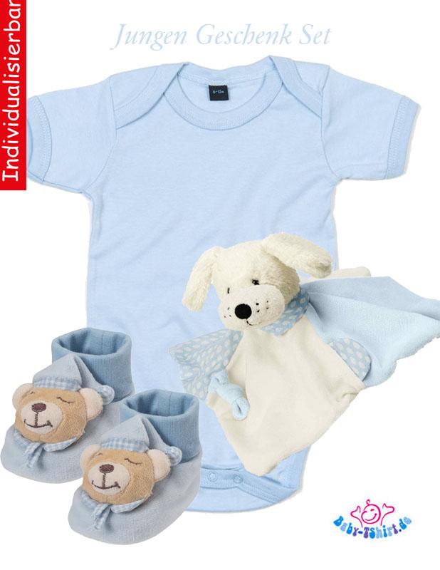 728c827f83d7ff Baby Geschenkset Jungen 4-teilig mit Wunschmotiv auf Babybody