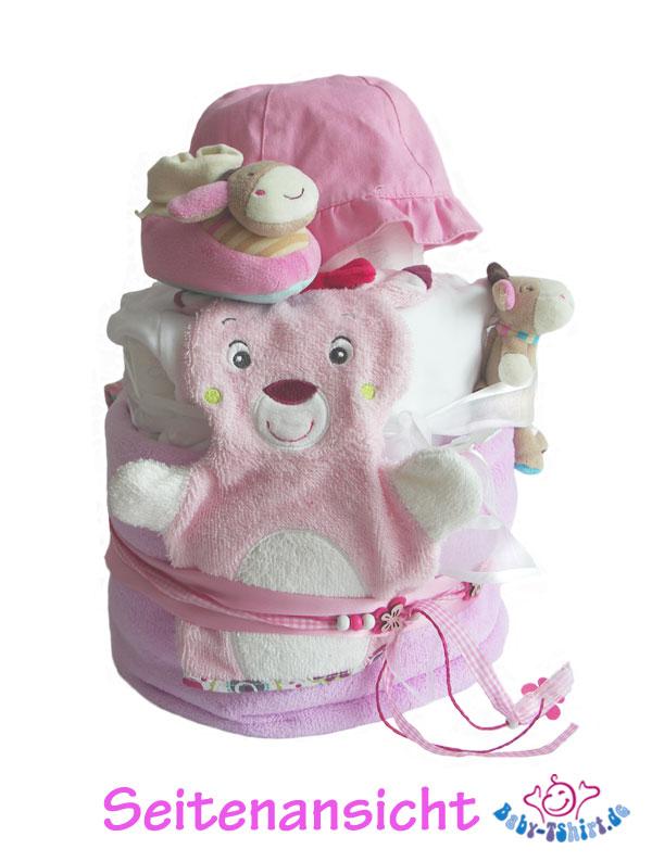 tolle windeltorte f r m dchen in pink rosa mit viel zubeh r. Black Bedroom Furniture Sets. Home Design Ideas
