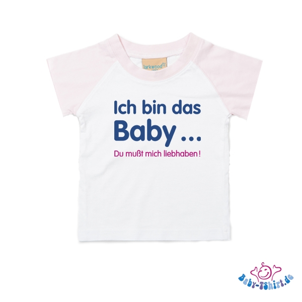 sale baby baseball t shirt kurzarm in rosa weiss mit dem aufdruck ich bin das baby du mu t. Black Bedroom Furniture Sets. Home Design Ideas