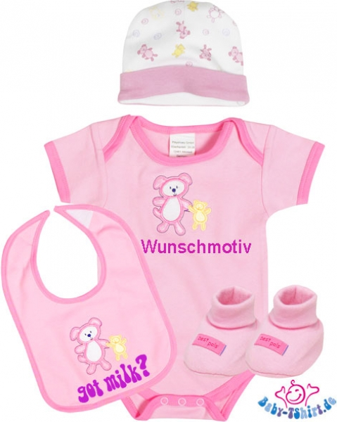 niedliches baby geschenk set f r m dchen 5 teilig inkl babybody online bestellen. Black Bedroom Furniture Sets. Home Design Ideas